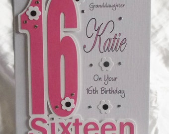 Personalised Handmade  16th, 18th, 21st  Birthday Card Daughter,Granddaughter, God Daughter Niece etc.  Can be made in colours of choice.