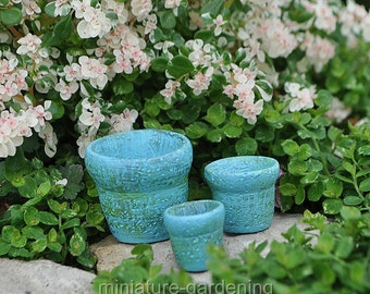Sea Blue Clay Pots, Set of 3 for Miniature Garden, Fairy Garden