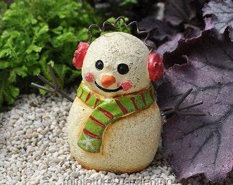 Earmuff Snowman for Miniature Garden, Fairy Garden