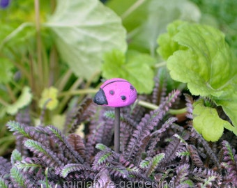 Ladybug Pick, Color Options: Pink for Miniature Garden, Fairy Garden