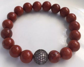 Red Jasper and Pave Rhinestone Bead