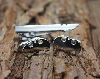 silver bat tie clip&cuff links set man gift