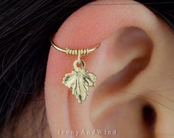 cartilage earring hoop helix earring hoop cartilage piercing helix piercing maple leaf gold filled 22g 20g 18g 16g