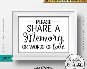 """Share a Memory Sign, Share Memories, Please Write a Memory Card, Graduation, Birthday Party, 5x7"""" Instant Download Digital Printable File"""