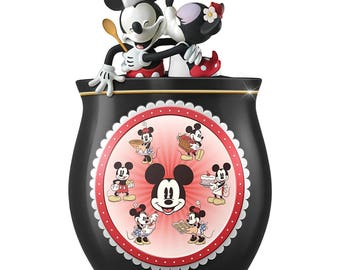 Disney Mickey Mouse And Minnie Mouse Ceramic Cookie Jar with Vintage Disney Art by The Bradford Exchange