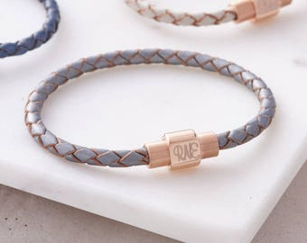 Leather And Personalised Rose Gold Clasp Bracelet