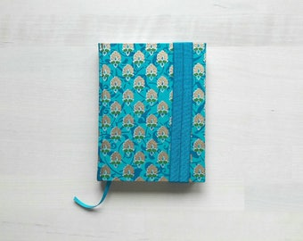 Notebook, diary with lined and blank pages, Bohemian gold-printed cover, elastic