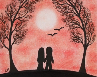 Engagement Card, Couple Trees Card, Romantic Anniversary Card, Love Art Card, Engagement Card, Couple Silhouette, Romantic Art Card, Tree