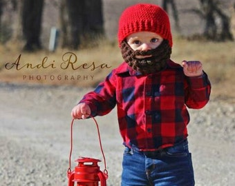 Baby Woodsman beard beanie. Baby beard hat. Any size/color lumberjack hat. Birthday invite ideas. Crochet Baby shower gifts. Toddler beard