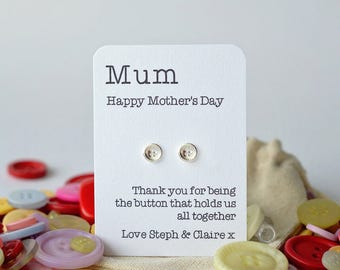 Mother's Day Mum/Mam/Nana/Grandma silver button earrings