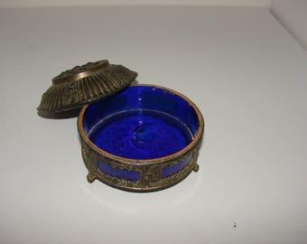 Colbolt Blue Japanese Trinket Dish Pewter n Colbolt Blue jewelry dish very nice piece mid century decor