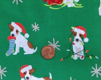Jack Russell Terrier, Dog, Puppy ~  Christmas Fabric~100% Cotton for Crafts & Quilting~Fat Quarter/ FQ or Half Yard