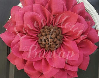 Burlap wreath, Burlap flower wreath,  Spring wreath, Sunflower wreath, Flower wreath,  Front door wreath, Summer wreath, Pink flower wreath