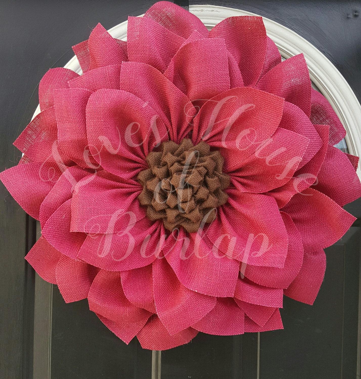 Burlap Wreath Burlap Flower Wreath Spring Wreath Sunflower