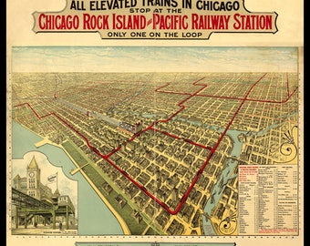 Panoramic Map of Chicago, IL in 1897. Shown with Frame only for Display, Print only. This is a wall decoration not a Road Map.