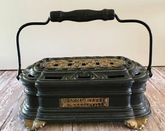 Vintage Foot Warmer, Primitive Carriage Foot Warmer, Cast Iron Foot Warmer, Antique Corneau Freres A Charleville Foot Warmer
