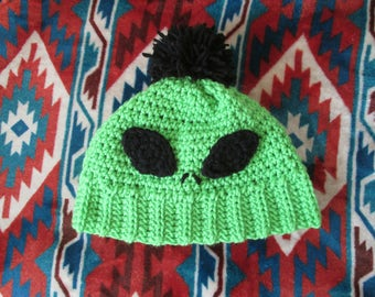 READY TO SHIP Crocheted Alien Hat