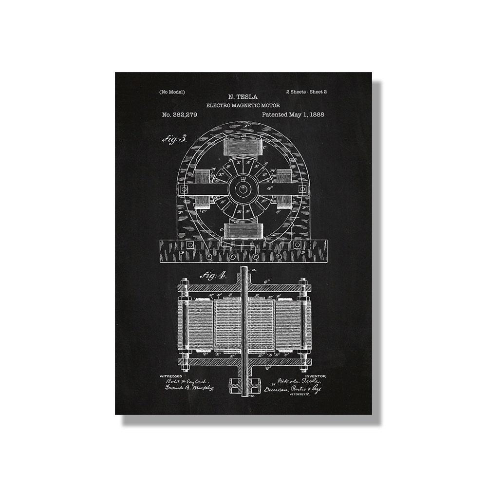 Tesla Motors Images Tesla Model S Larson Sketches: Tesla Electromagnet Motor Patent Vintage Poster Screen