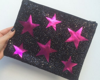 Limited Edition Pink Leather Star Black Glitter Clutch Bag