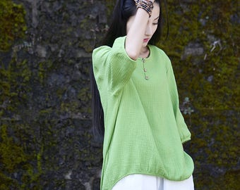 Womens Summer Loose Fitting Retro Cotton Linen Blouses, Womans Casual Tops, Casual Blouses, Linen Blouses, Linen Tops, Cotton Blouses Tops