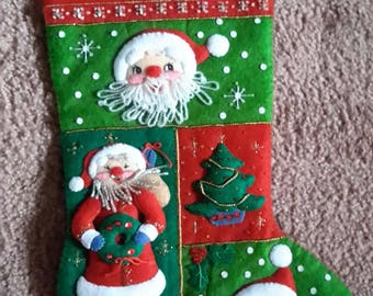 Santas Christmas felt & sequined stockings