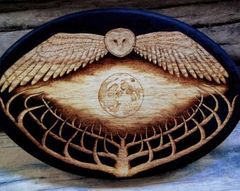 Silent Sight - Barn Owl Moon and Tree Pyrography Art