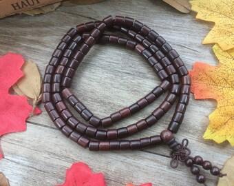 108pc 6MM Black Dalbergia louvelii Barrel Blackwood Beads Meditation Buddhist Japa Mala Necklace
