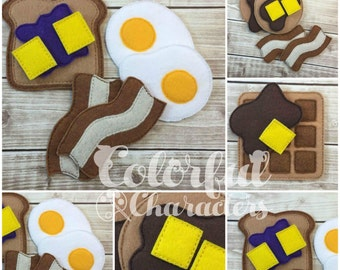 Felt breakfast food set, pretend food, stocking stuffers, easter baskets, felt toys, childrens toys, made to order