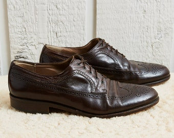 80s Borri Brown Leather Oxford Wingtip Dress Shoes • 10.5