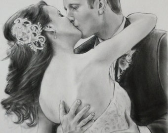 Custom wedding drawing from photo pencil and charcoal portrait