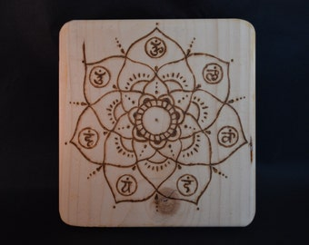 Wooden Crystal Grid with Chakra design made from Recycled Wood with hand pyrographed mandala