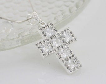 Sterling Silver Cross Necklace, Silver Cross CZ Necklace, CZ Large Cross Necklace, Sliver Cubic Zirconia Cross Necklace, Clear CZ Crystal