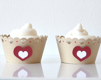 Kraft Love Cupcake Wrappers Set of 12: valentines cupcakes, hearts, red and white, cutout hearts, party decor, valentines party- LRD019V