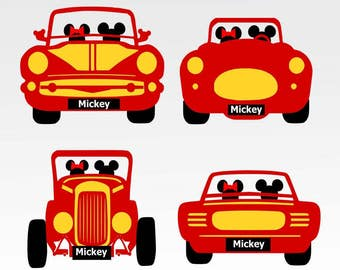 Disney Bound Car, Disney,mickey ,minnie  SVG, DXF, png, jpg digital cut file for Silhouette or Cricut