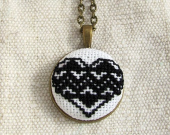 Romantic heart necklace, black heart necklace, ethnic jewelry, traditional romanian necklace, bohemian necklace, handembroidered pendant