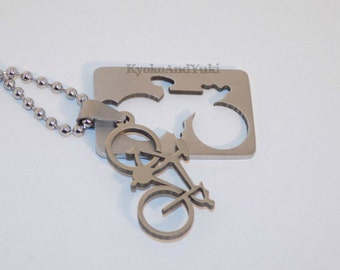 Stainless Steel 3D Bicycle Cut-out Charm Ball Chain Necklace