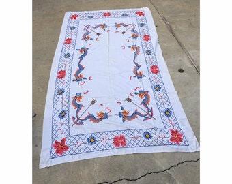 Vintage Dragon TableCloth Vintage Embroidered Large Tablecloth Vintage Dragon TableCloth Vintage Linens