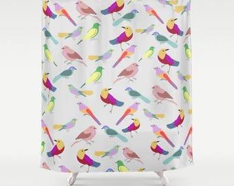 Birds shower curtain-Romantic Shower Curtain-Designer Bathroom decor-Etsy gift-Gift idea-modern bathroom-Colourful bath