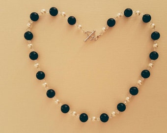 Swarovski Crystal Black and White Pearl Necklace