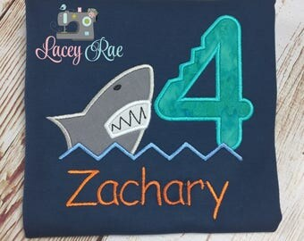 Personalized shark 4th birthday shirt, Shark birthday shirt, any number