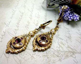 Antique Victorian jewelry Antique brass nickel free earrings Rhinestones jewelry Brass Victorian earring Teardrop earrings Purple earrings
