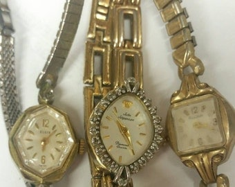 Three vintage ladies watches Elgin, Bulova, and Jules Jurgeson