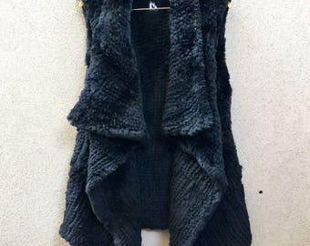 Black Long Rabbit Fur Vest, Black Vest, Rabbit Fur Vest, Black Fur Vest called Khloe