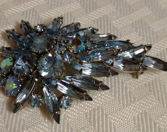 Vintage Blue Rhinestone and Silver Tone Brooch