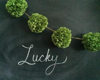 Fern Green Pom Pom Garland, Chunky Yarn, Pom Poms, St Patricks Day, Birthday Backdrop, Party Decor, Nursery Decor, photo backdrop