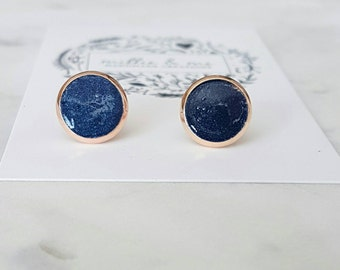 Rose gold and navy blue clay stud earrings