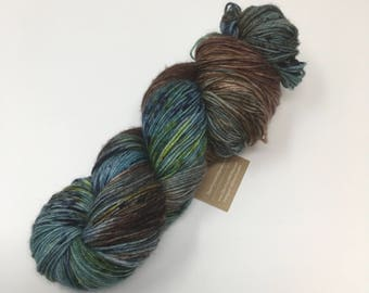 Beautiful Distaster Indie Dyed Yarn on Merino cashmere Nylon MCN gold brown speckled  blue