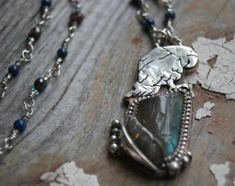 Owl and Labradorite Totem Pendant- Nature Inspired Necklace