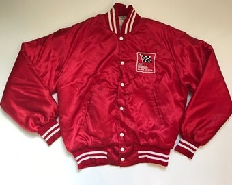 Vintage Red Satin Racing Checkered flag Embroidered Snap Baseball Jacket Made In USA Medium