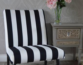 Striking Black & White Striped Retro Chair